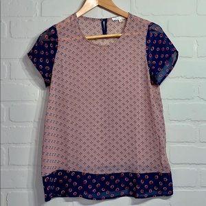 Hem & Thread semi sheer small shirt sleeve blouse